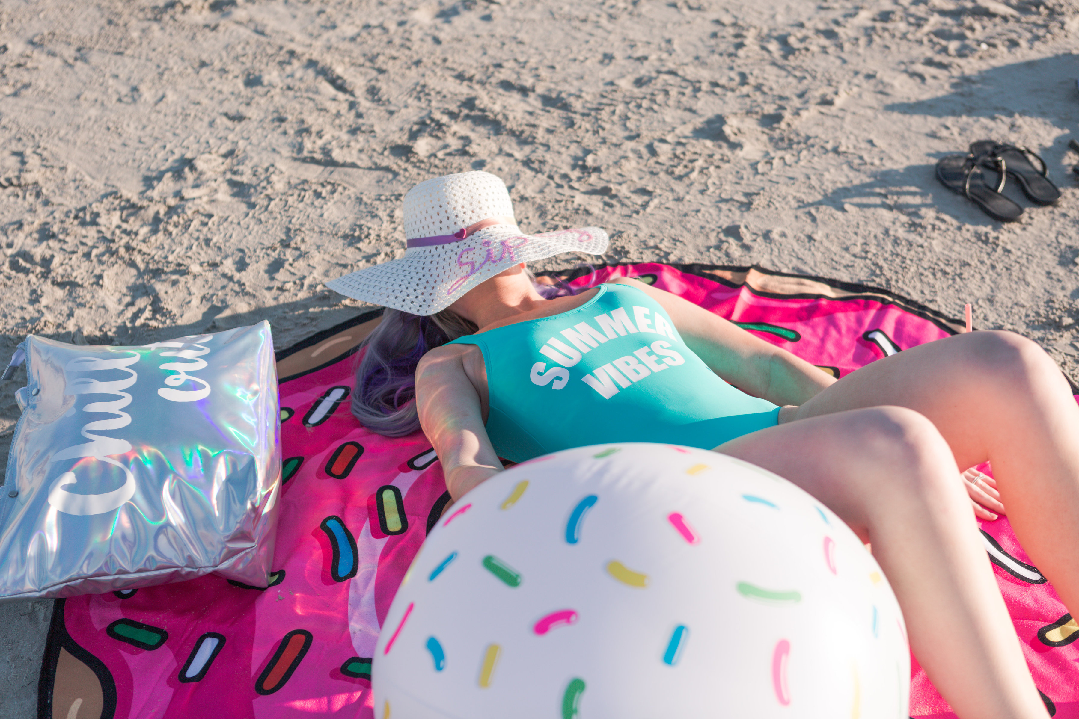 beach day, macy's, one piece swimsuit, sequin hat, coppertone sunscreen, francescas, insulated tote, houston photographer, houston blogger