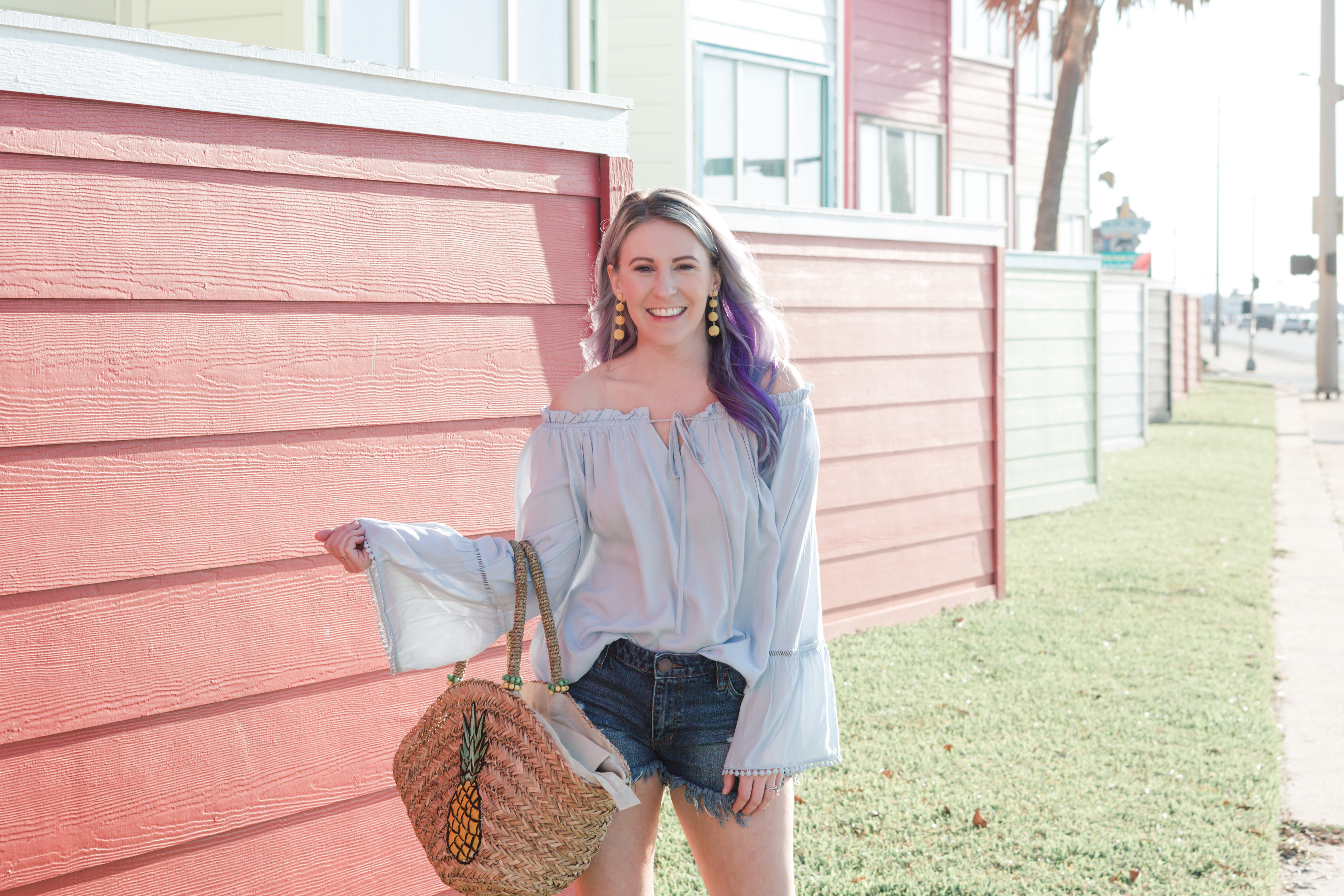 nordstrom, frayed denim shorts, shein, nordstrom sale, marc fisher, pineapple tote, gracefully sassy, houston blogger, style blog, fashion blogger, houston photographer
