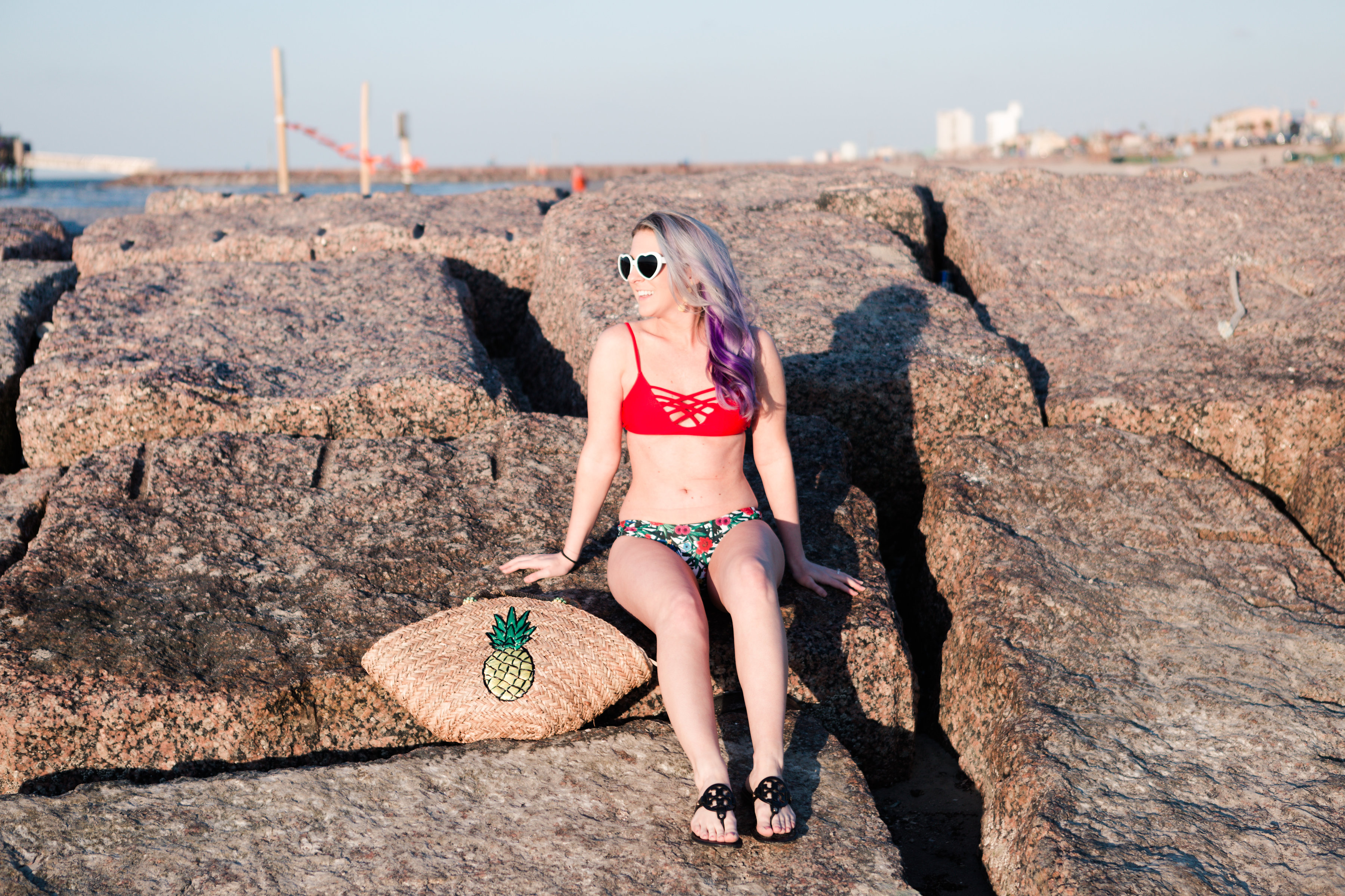 houston blogger, style blog, fashion blogger, lifestyle blogger, gracefully sassy, floral swimsuit, staycation, shein, tory burch, francescas, pravana, houston photographer, Galveston To-do's, Galveston