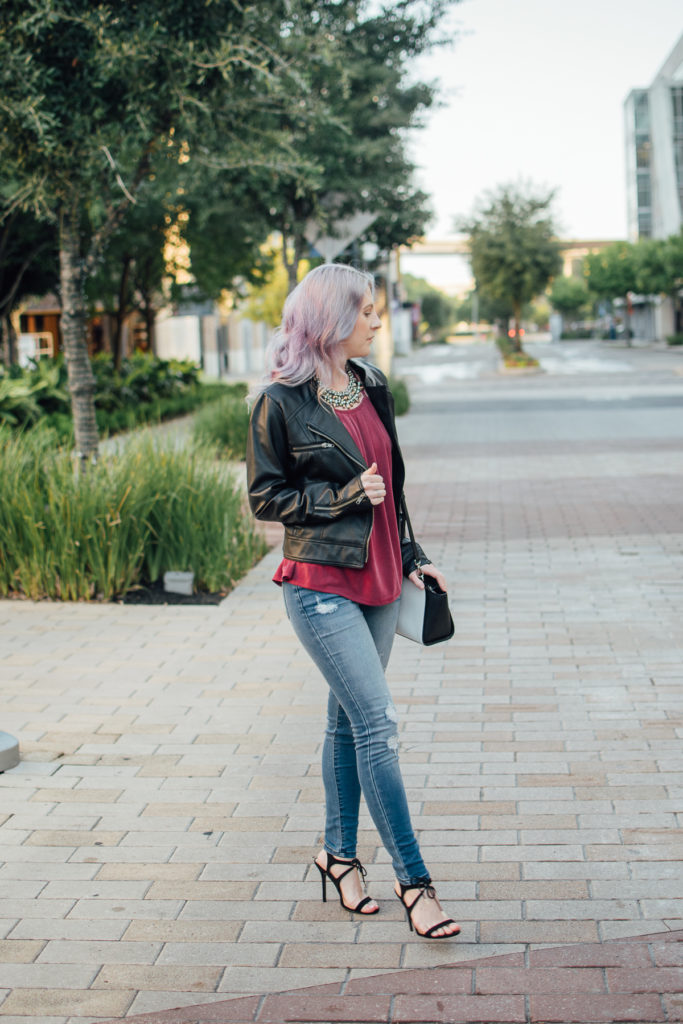 Francescas, houston blogger, houston photographer, fall outfit, moto jacket, fashion blogger, style blogger, houston blogger