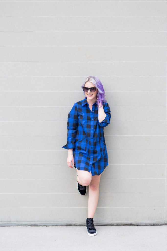 style blogger, fashion blogger, style blog, steve madden, velvet sneaker, houston photographer, shirt dress, plaid dress, sunglasses