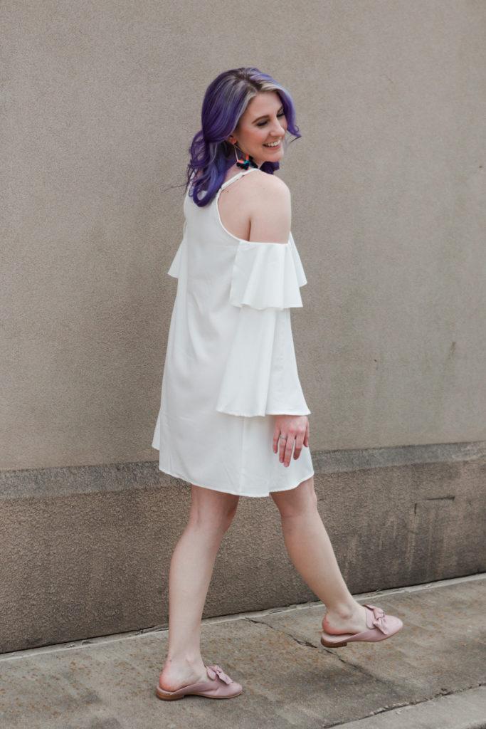 houston blogger, style blog, fashion blogger, lifestyle blog, shein, pravana, bauble bar, bp, nordstrom, gracefully sassy, spring fashion, white ruffle dress, bow loafers, houston photographer