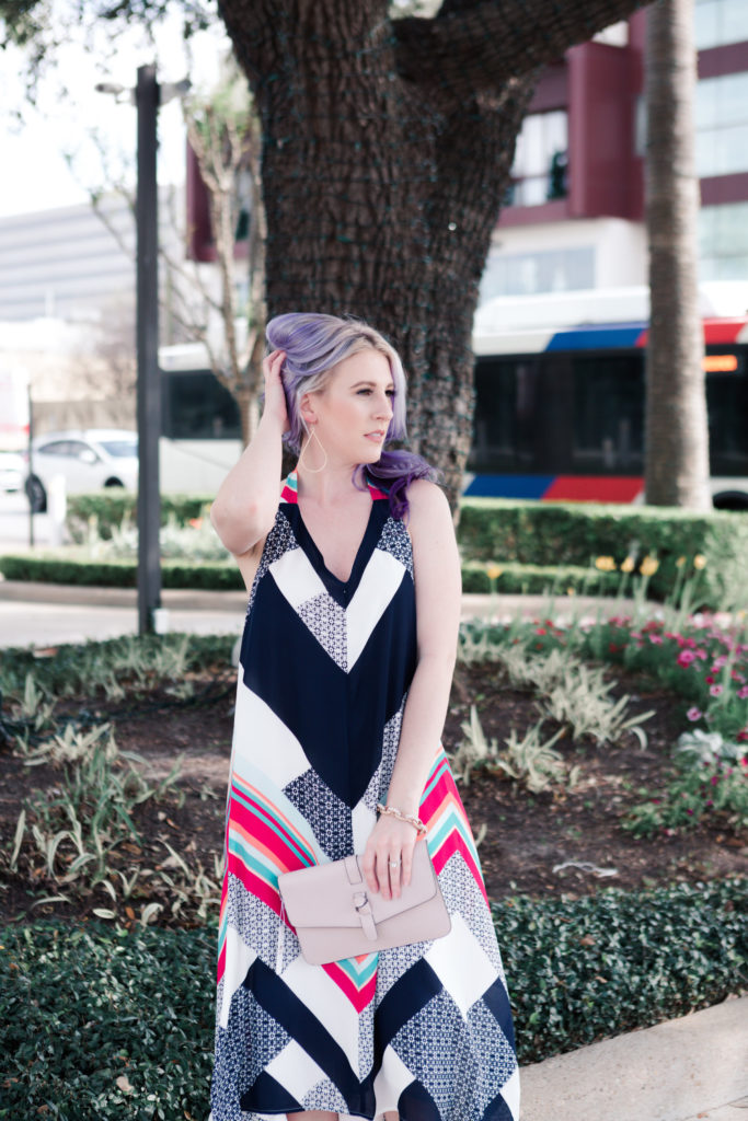 houston blogger, style blog, fashion blogger, gracefully sassy, vici collection, midi dress, spring midi dress, chevron print, houston photographer, pravana, charming charlie, target, texas blogger, blogger - Striped Midi Dress for Spring Date Nights by Houston fashion blogger Gracefully Sassy