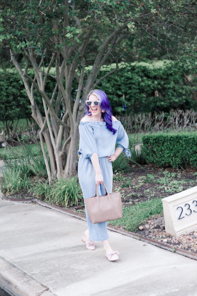houston blogger, style blog, fashion blogger, blogger, lifestyle blog, gracefully sassy, nordstrom, bow mules, jumpsuit, denim jumpsuit, pravana, target, target style, houston photographer