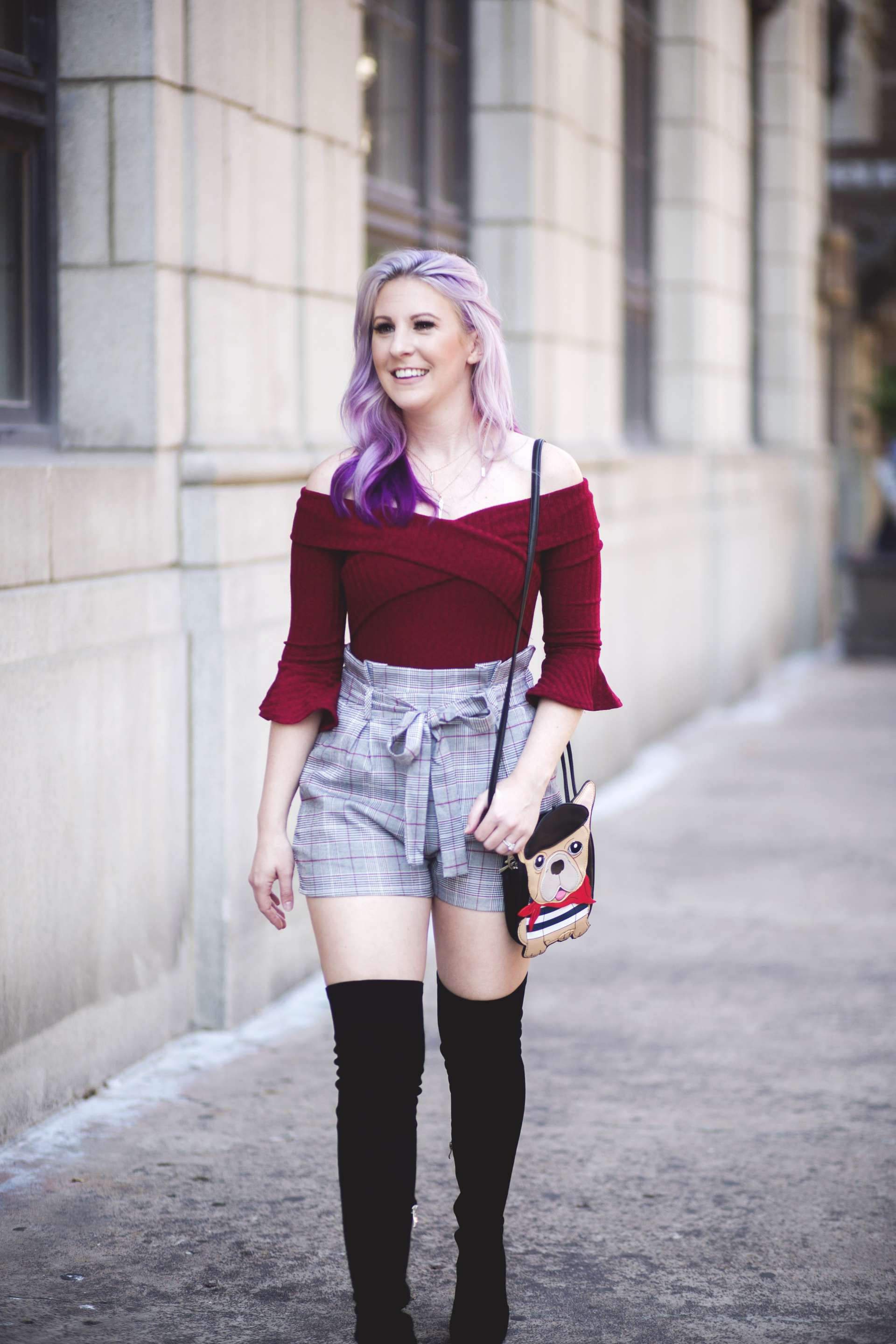 Off The Shoulder Bodysuit & Our Halloween Traditions by Houston fashion blogger Gracefully Sassy