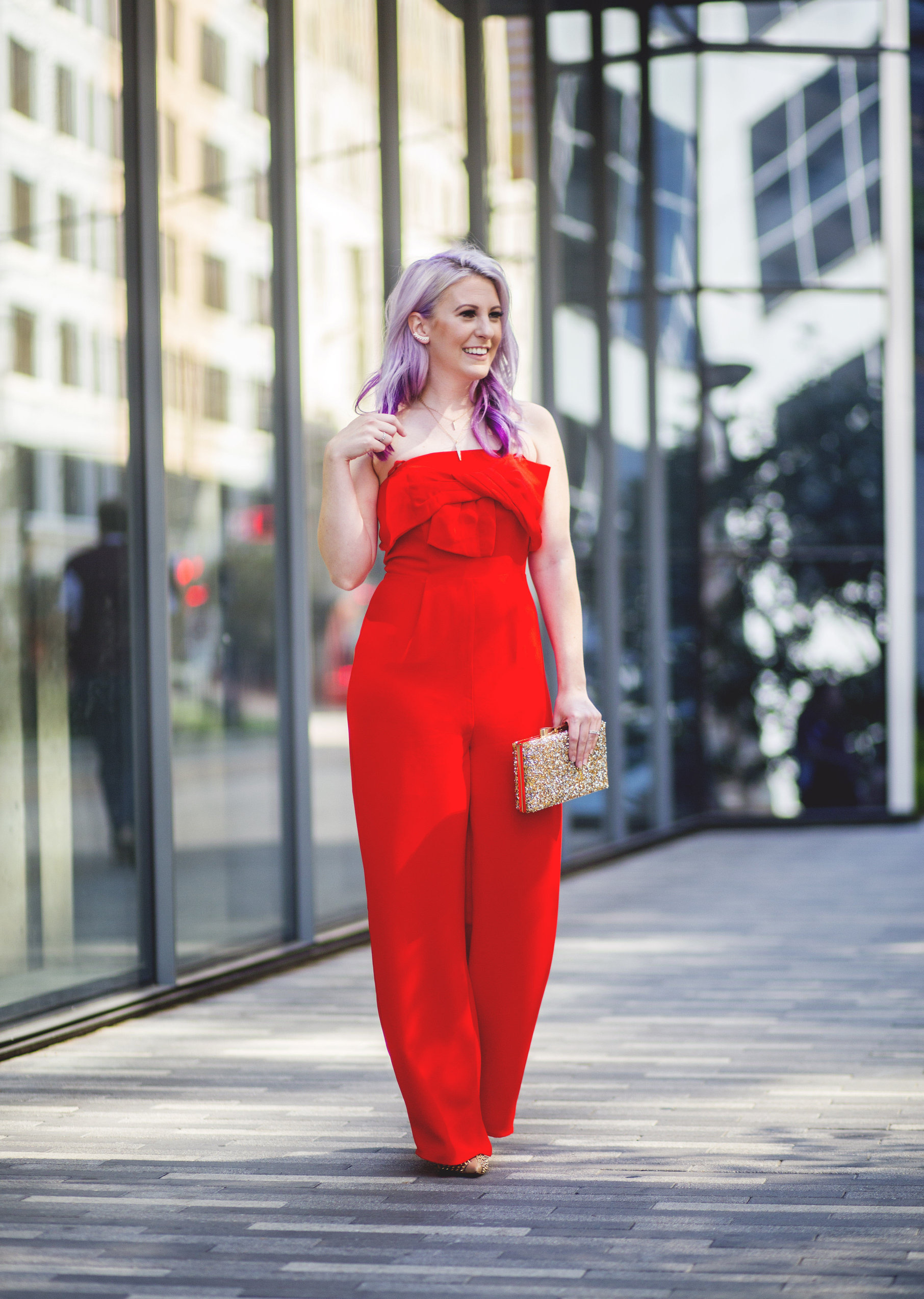 Red Jumpsuit & Takeaways From Create & Cultivate by Houston fashion blogger Gracefully Sassy