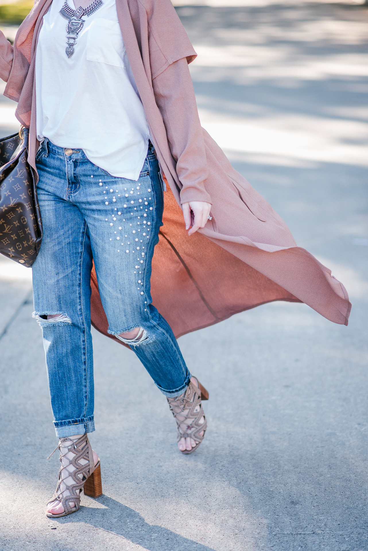 Fall Staples & Pearl Embellished Jeans by Houston fashion blogger Gracefully Sassy