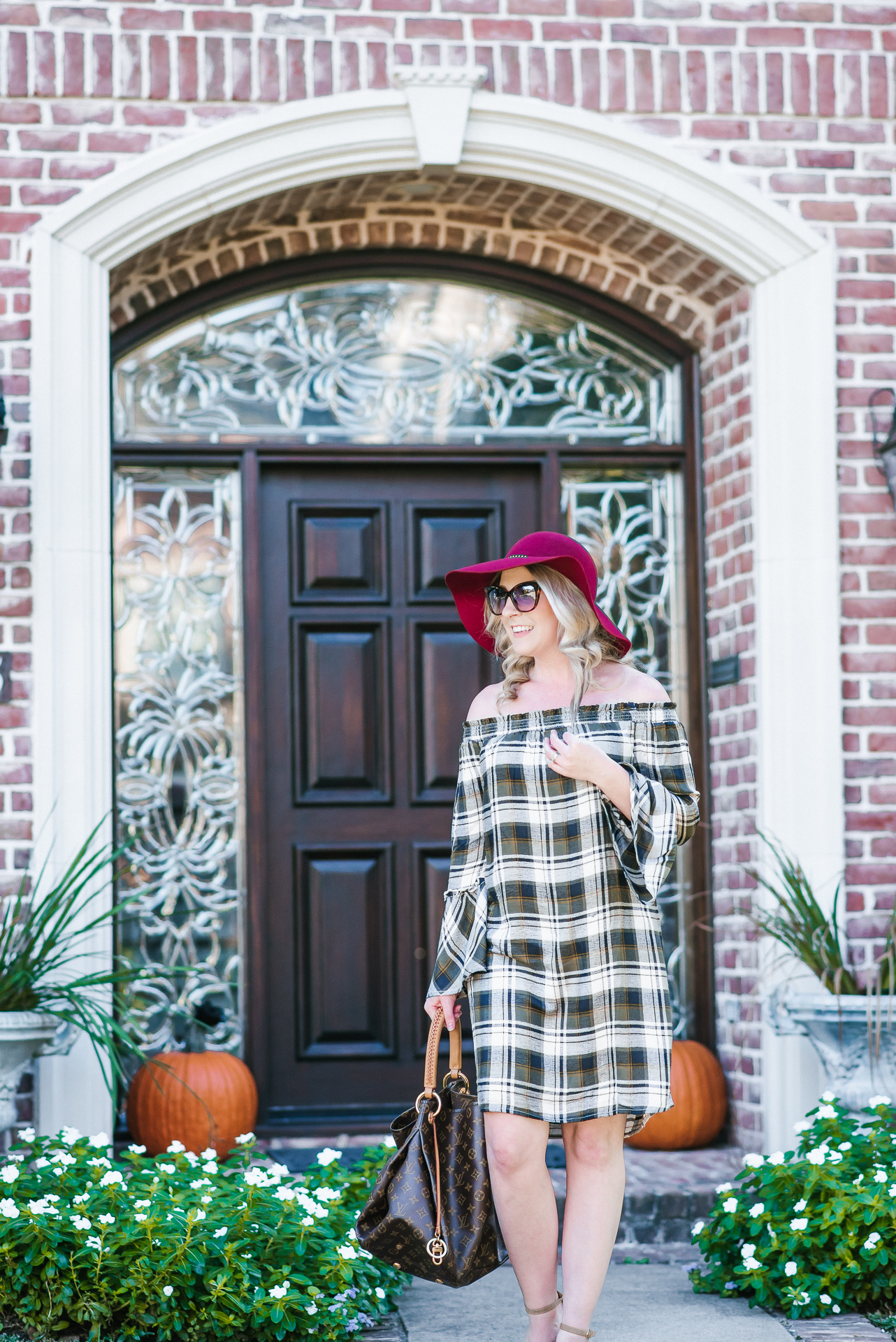 Thanksgiving Off The Shoulder Dress by Houston fashion blogger Gracefully Sassy