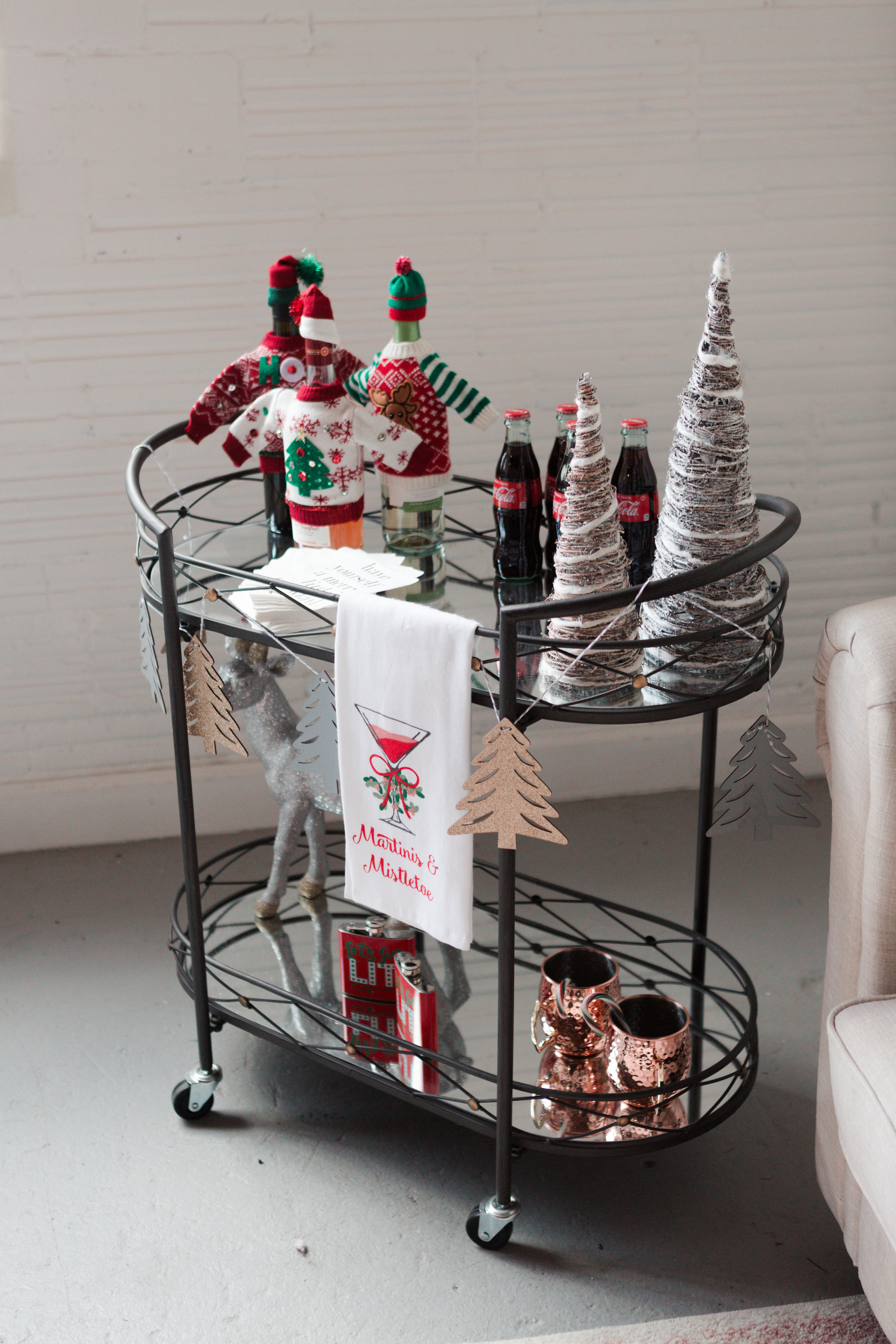 bar cart, holiday bar cart, christmas bar cart