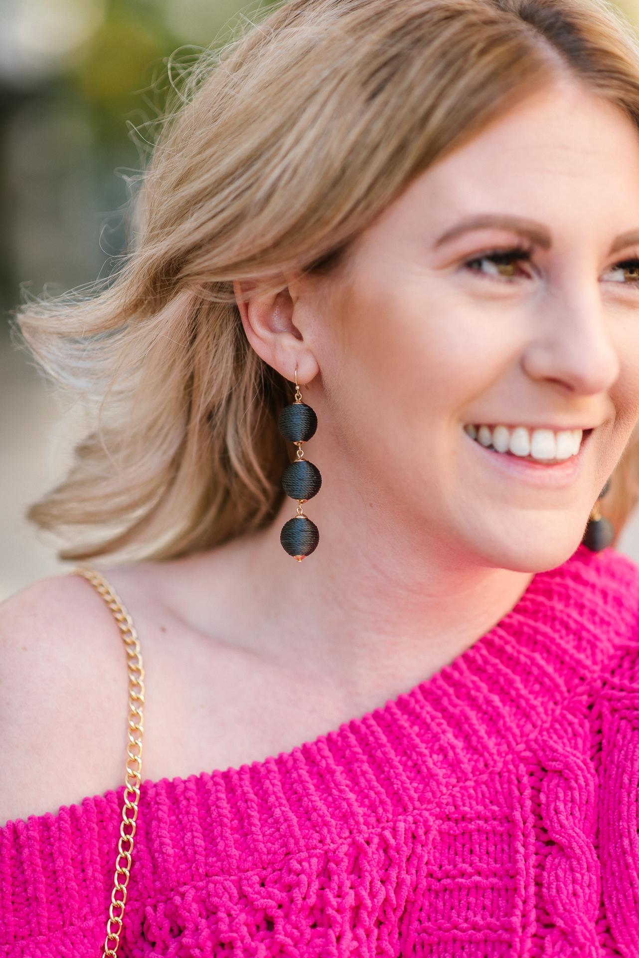 bauble bar earrings, crochet sweater