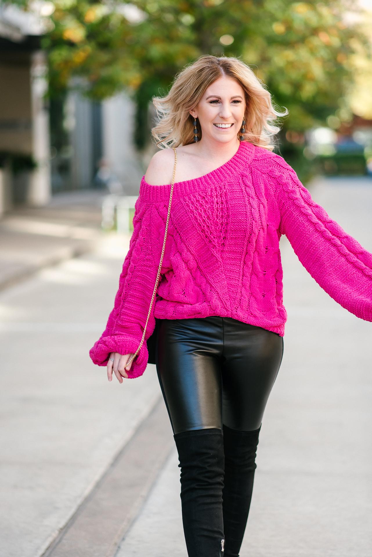 pink chenille sweater, balloon sleeve chenille sweater