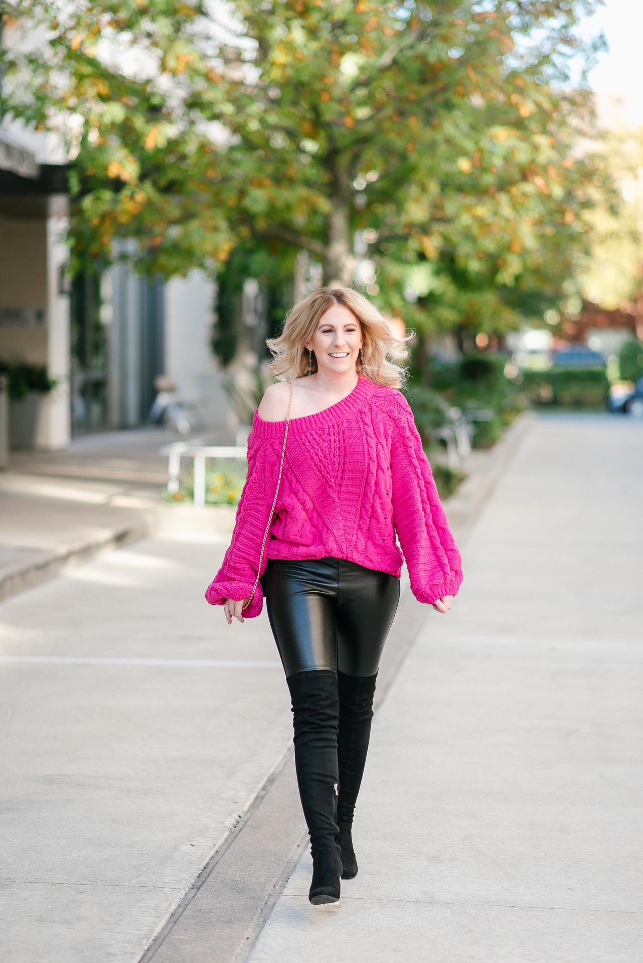 houston fashion blogger, chenille knit sweater