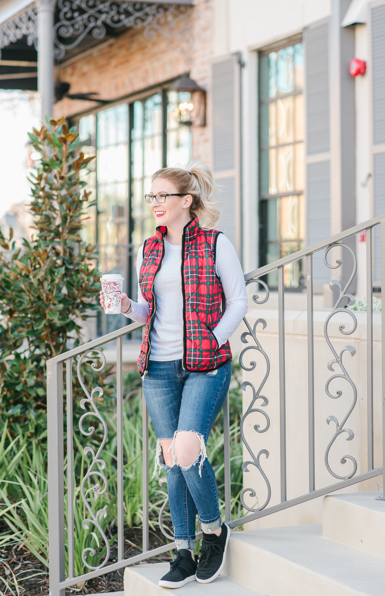 red plaid vest, red and green vest, womens vest