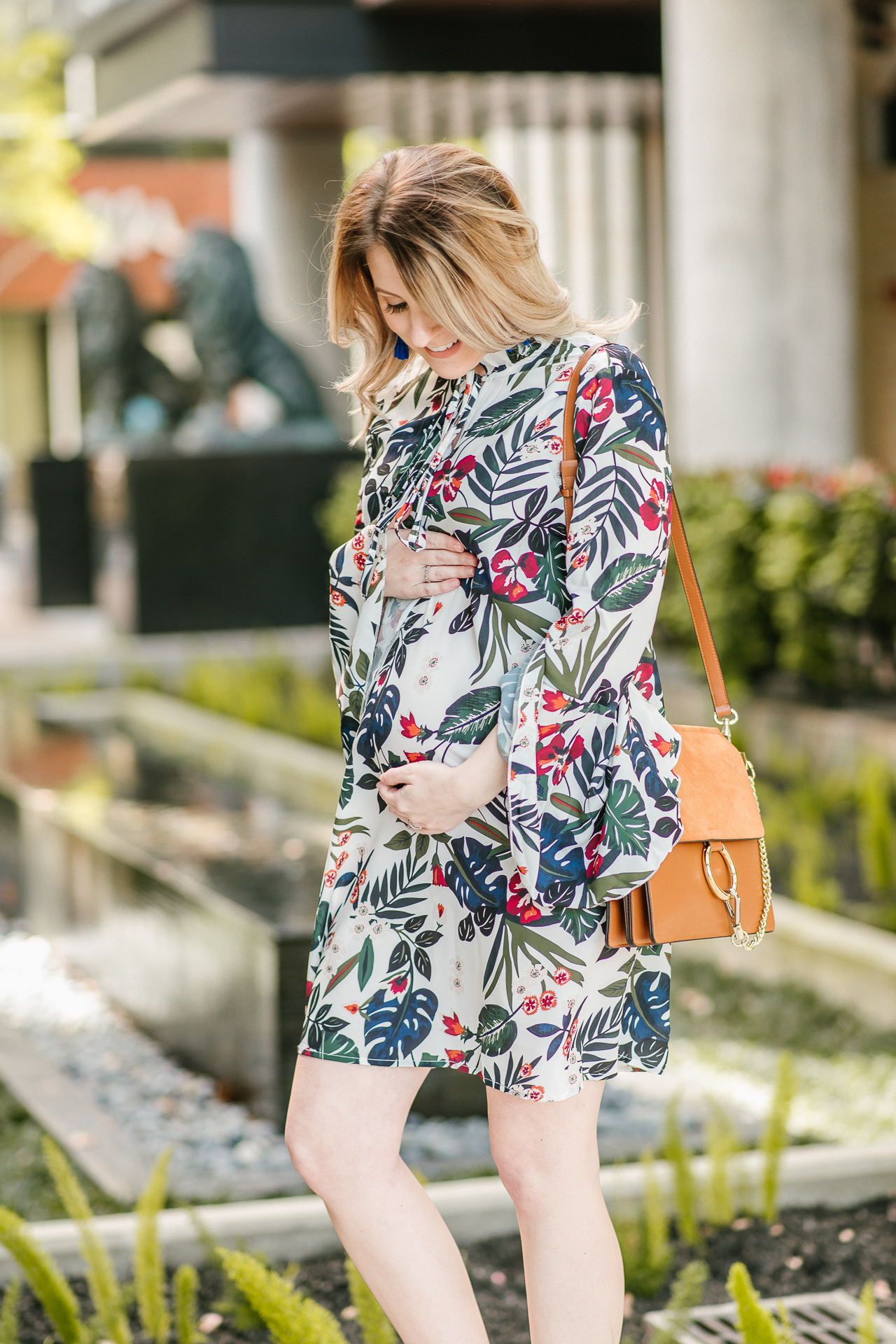 spring dress, swing dress, trumpet sleeve dress, floral dress, shein, fashion blogger, houston blogger, style blog